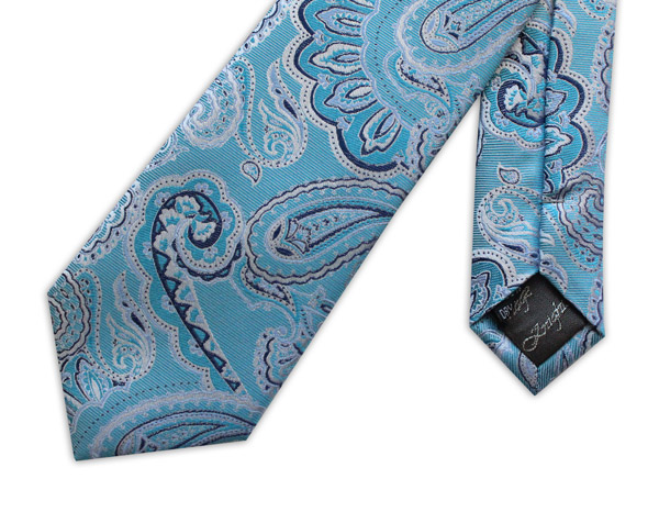 LIGHT BLUE PAISLEY WOVEN SILK TIE