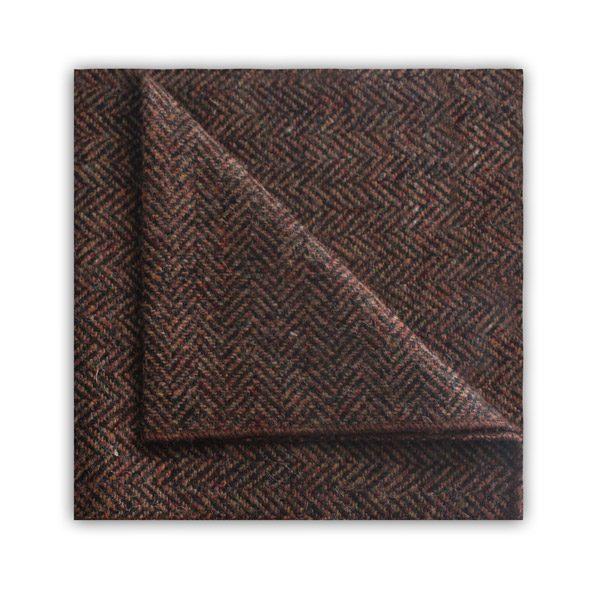 Brown herringbone tweed pocket square -0