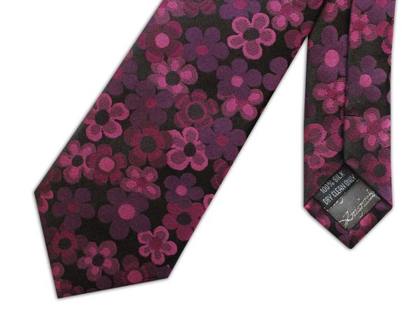 PINK AND BLACK FLORAL WOVEN SILK TIE-0