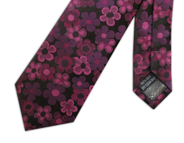 PINK AND BLACK FLORAL WOVEN SILK TIE