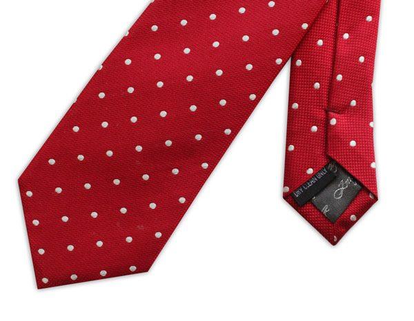 Red/white spots woven silk tie-0