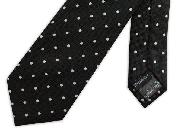 Black/white spots woven silk tie-0