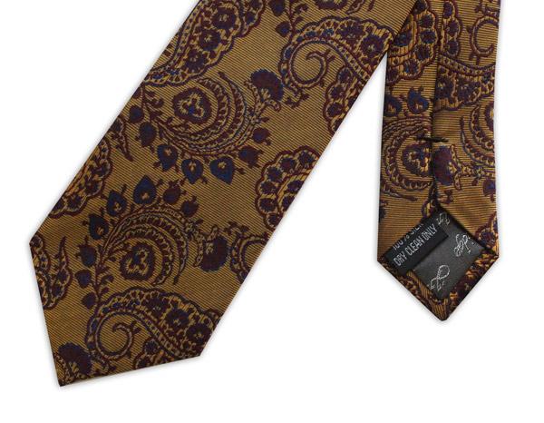 bronze/blue paisley woven silk tie