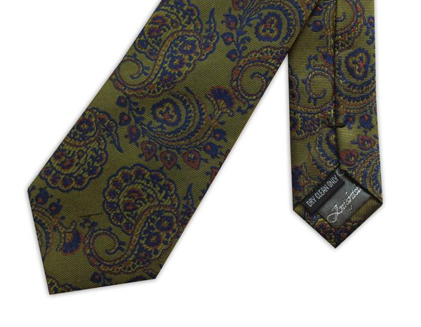 olive green /blue paisley woven silk tie -0
