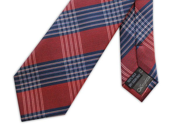 NAVY/RED LARGE CHECK WOVEN SILK TIE-0