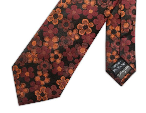 ORANGE AND BLACK FLORAL WOVEN SILK TIE-0
