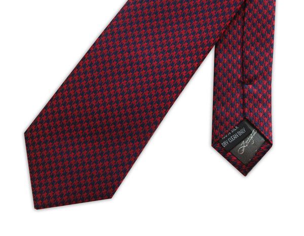 RED HOUNDSTOOTH WOVEN SILK TIE-0