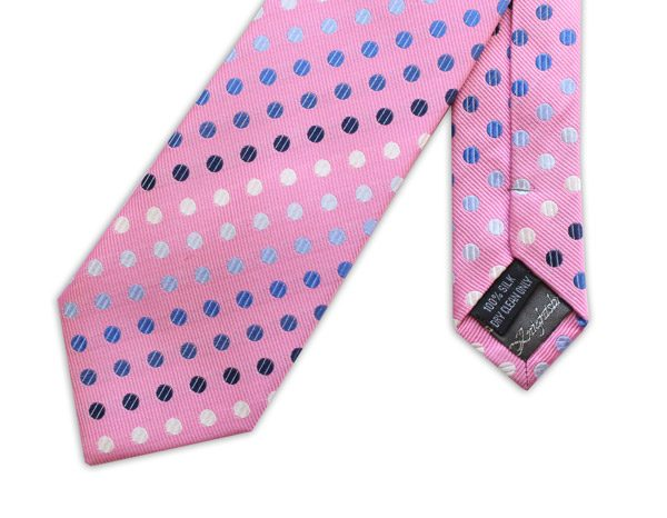 PINK AND BLUE POLKA DOT WOVEN SILK TIE-0