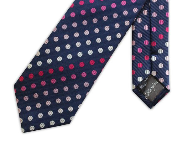 NAVY WITH PINK AND WHITE POLKA DOTS WOVEN SILK TIE-0