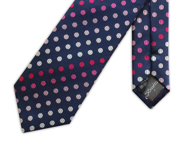 NAVY WITH PINK AND WHITE POLKA DOTS WOVEN SILK TIE