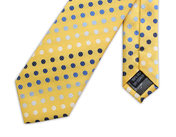 YELLOW WITH BLUE AND WHITE POLKA DOTS WOVEN SILK TIE