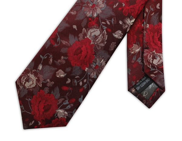 MAROON AND RED FLORAL WOVEN SILK TIE -0