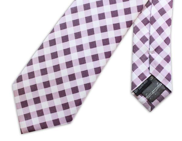 PURPLE GINGHAM CHECK woven silk tie