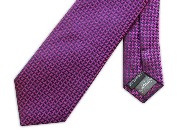 PURPLE GEOMETRIC PRINT woven silk tie-0