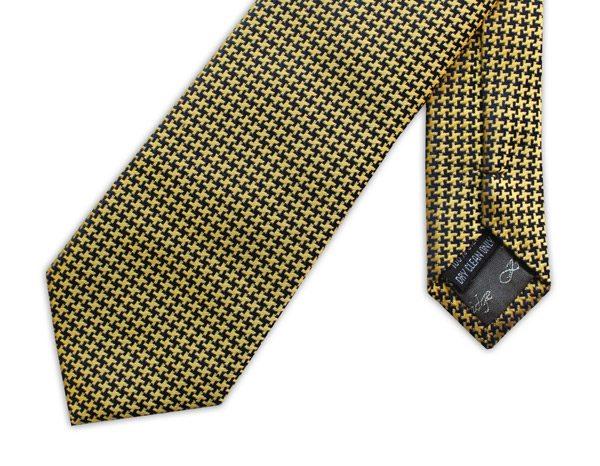 MUSTARD YELLOW GEOMETRIC PRINT woven silk tie-0