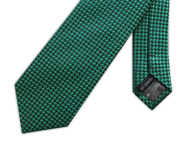 GREEN GEOMETRIC PRINT woven silk tie -0