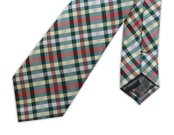 BROWN/RED/GREEN/WHITE/RED TARTAN WOVEN SILK TIE