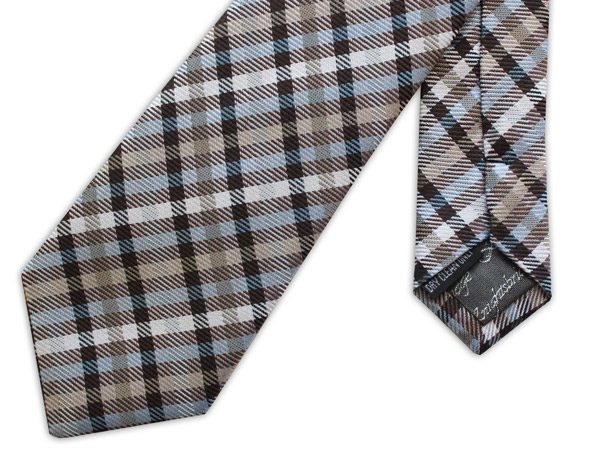 brown/taupe/blue woven silk tie-0