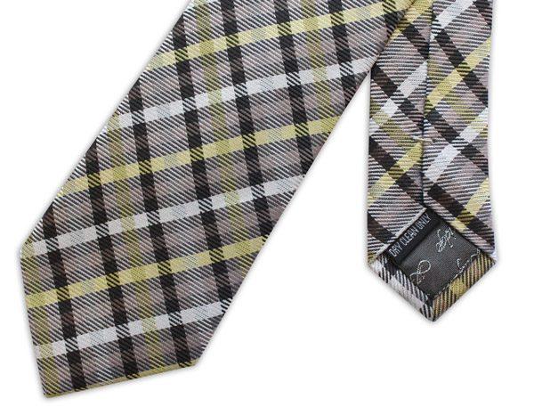 brown/mustard/white tartan woven silk tie-0