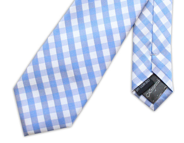 LIGHT BLUE GINGHAM CHECK WOVEN SILK TIE