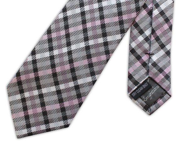 purple/black/white tartan woven silk tie -0