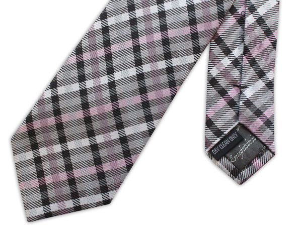 purple/black/white tartan woven silk tie