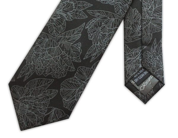 Black/grey large floral woven silk tie-0