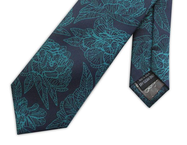 BLUE/TURQUOISE LARGE FLORAL WOVEN SILK TIE-0
