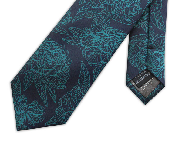 BLUE/TURQUOISE LARGE FLORAL WOVEN SILK TIE