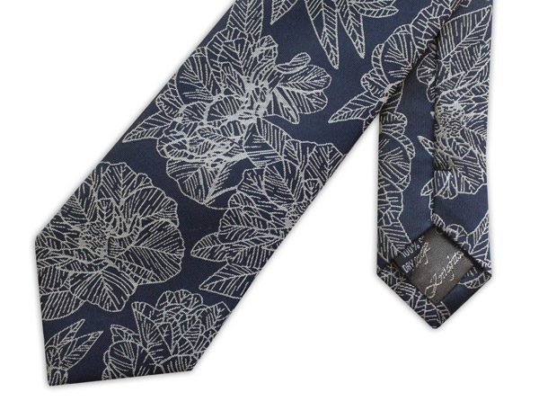 NAVY/WHITE LARGE FLORAL WOVEN SILK TIE-0