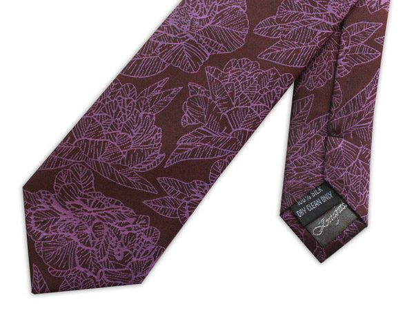 BURGUNDY/PINK LARGE FLORAL WOVEN SILK TIE-0
