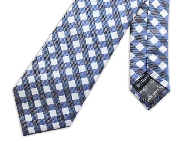 NAVY GINGHAM CHECK WOVEN SILK TIE-0