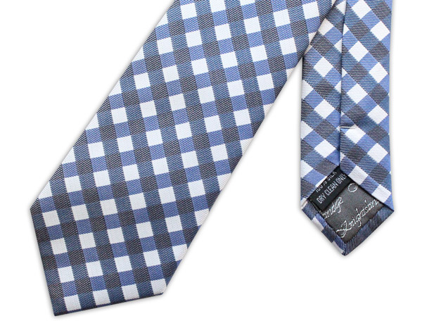 NAVY GINGHAM CHECK WOVEN SILK TIE