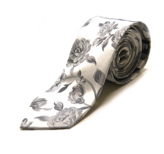 White/silver floral woven silk tie -0