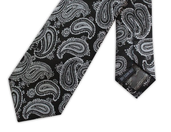 Black/silver paisley woven silk tie -0