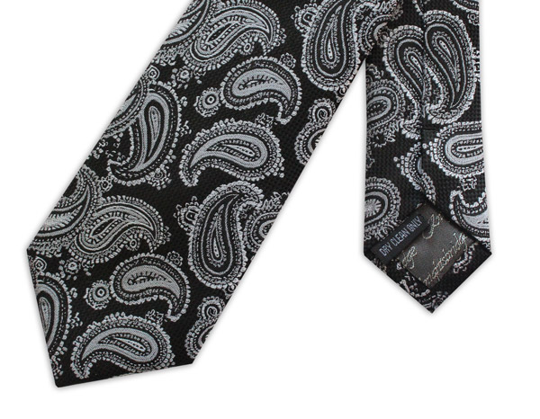 Black/silver paisley woven silk tie