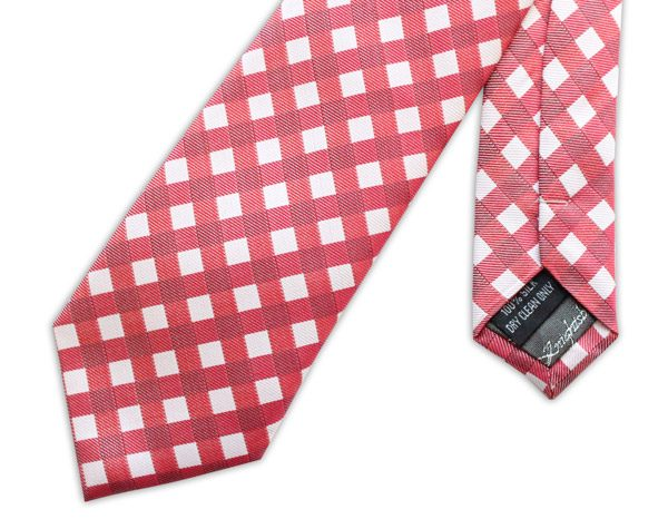 RED GINGHAM CHECK WOVEN SILK TIE-0