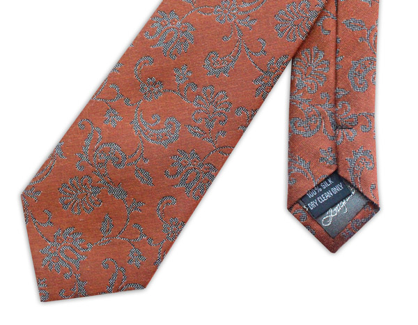 BURNT ORANGE AND GREY FLORAL WOVEN SILK TIE