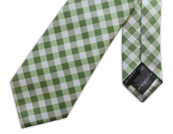 GREEN GINGHAM CHECK WOVEN SILK TIE-0