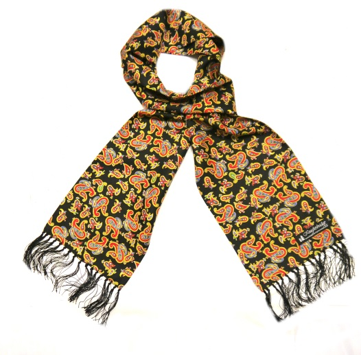 Black/yellow/red paisley silk aviator scarf-0