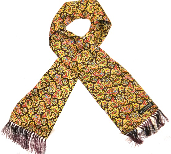 Knightsbridge Retro burgundy yellow and red paisley silk aviator scarf-0