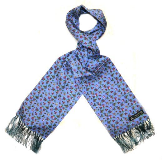 Sky blue/red/mint paisley silk aviator scarf-0