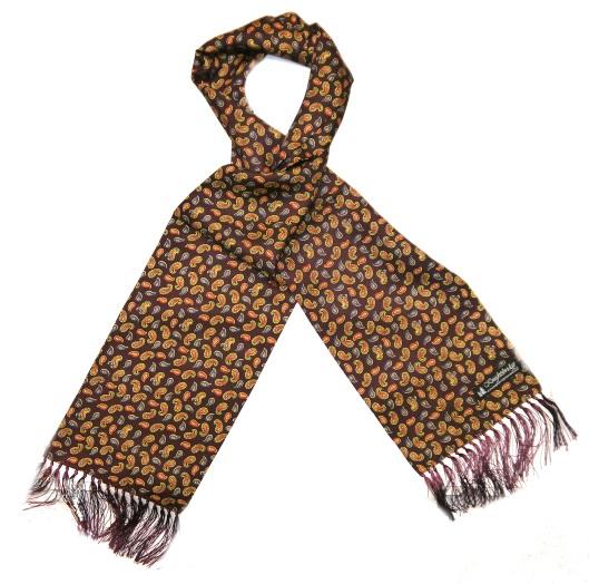 Knightsbridge retro burgundy paisley silk aviator scarf-0