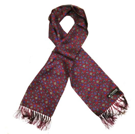 Burgundy/blue small paisley silk aviator scarf -0
