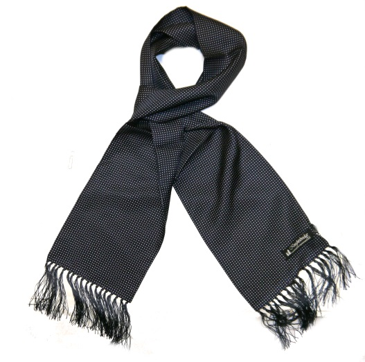 navy/white pin dots silk aviator scarf-0