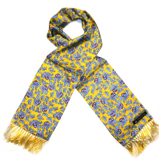 Mustard yellow/sky blue paisley silk aviator scarf -0