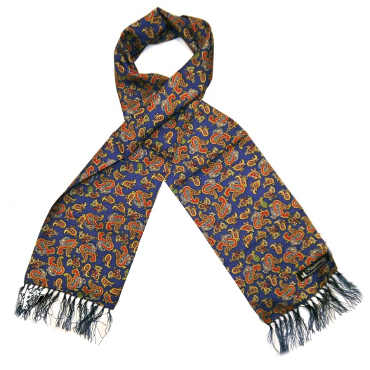 French navy/orange/yellow paisley silk aviator scarf-0