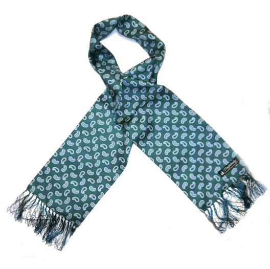 Green/white small paisley silk aviator scarf-0