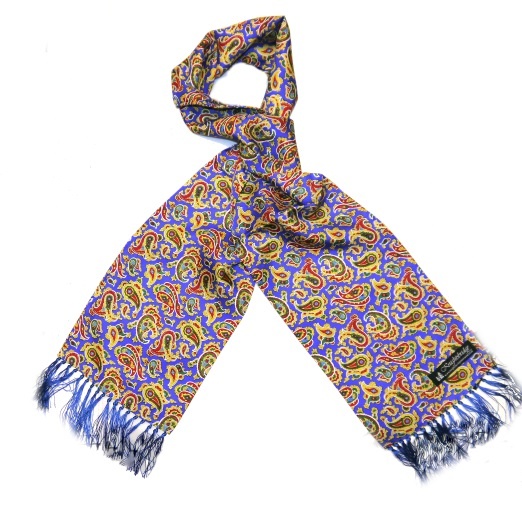 Royal blue/red/yellow paisley silk aviator scarf-0