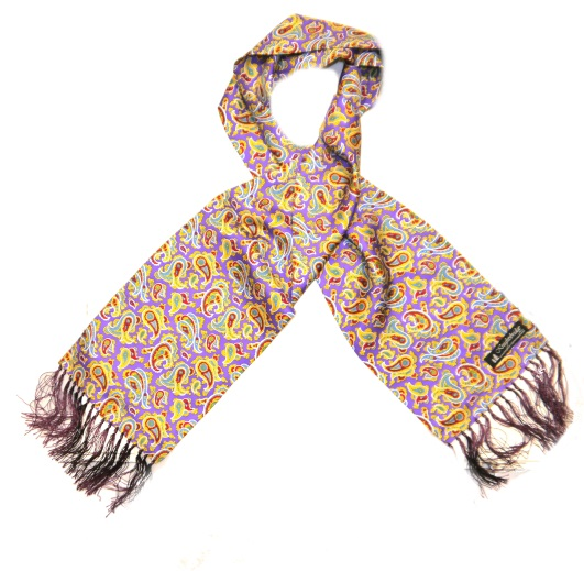 Purple/yellow paisley silk aviator scarf -0